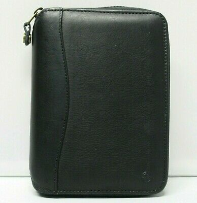 "Franklin Covey COMPACT SIZE Black Leather Planner 3/4"" Rings SpaceMaker"