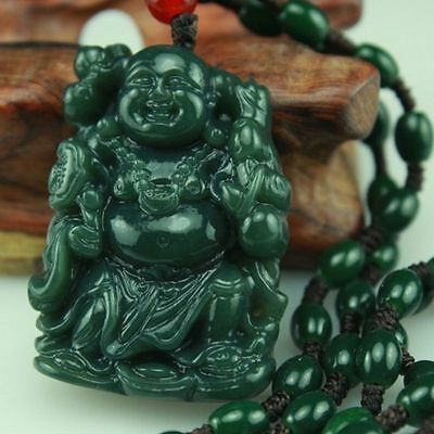 100% Natural Hand-carved Chinese Hetian Jade Pendant - Buddha-Free Necklace%
