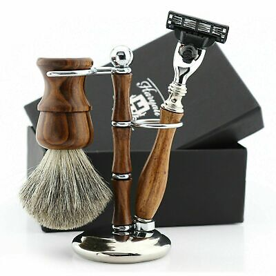 Wooden Shaving Styles Kit Traditional Way To Shave | Manual Razor & Brush, Stand