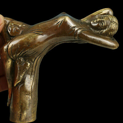China Collectible Old Handwork Carving Bronze Cobra Statue nude girl Head