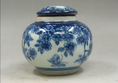 Chinese old Handmade painting flowers blue and white porcelain Tea caddy pots