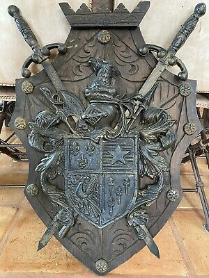 HEAVY Vintage Medieval Metal & Wood COAT of ARMS, CREST Plaque