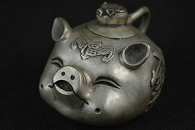 Exquisite Old Collectible Decoration Miao Silver Carving Lovely Pig Shape TeaPot