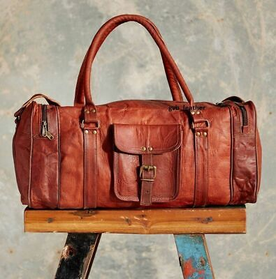 """Handcrafted 24"""" Real Brown Leather Duffel / Hold-All Bag Weekend Travel Luggage"""