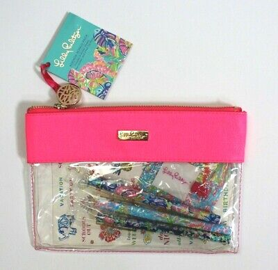 Lilly Pulitzer Agenda Bonus Pack Clear Zip Bag Stickers Sheets Felt Tip Pens