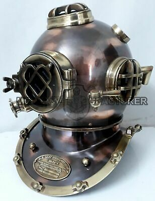 Messing Antik Scuba Marine Taucher Helm US Navy Mark V Navy Diving Helmet 18""