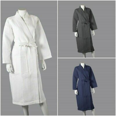 Soft Unisex Hotel Spa Waffle Bath Robe 100% Combed Cotton Dressing Gown Bathrobe
