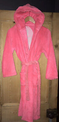 Girls Marks & Spencer Pink Fluffy Dressing Gown Hooded Age 13-14 Y