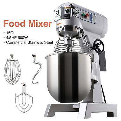 15Qt Electric Food Stand Mixer Dough Mixer Bread 600W restaurants Three Speed