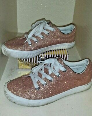 New Look 915 Size 3 Ladies Girls Rose Gold Sparkle Glitter Trainers