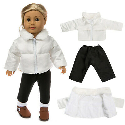 """18"""" Doll Clothes Accessories White Down Jacket Black Leggings Fit for Dolls Gift"""