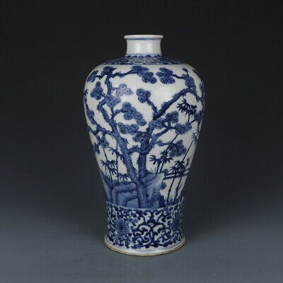 Chinese Old Marked Blue and White Plum Blossom Bamboo Pine Tree Porcelain Vase