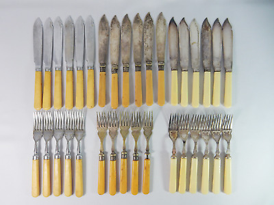 Antique Vintage 34pc Bulk Job Lot Silver Fish Fruit Cutlery Knife Fork Set