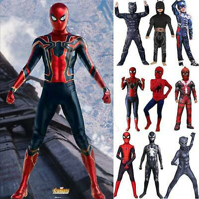 Marvel Superhero Cosplay Fancy Costume Kid Adult Party Homecoming Jumpsuit Props