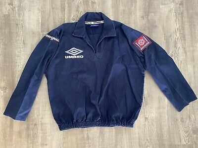 Vintage Umbro Pro Training Drill Top in Navy with Embroidered Logo 90's Retro