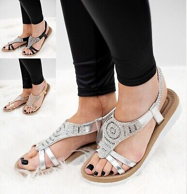 Ladies Womens Summer Low Wedge Flat Diamante Sling Back Beach Hoilday Sandals Sz