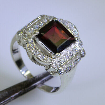 jewellery 925 Sterling Silver comely genuine Red Ring Garnet Gift UK