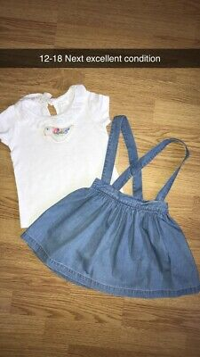 Girls Next 12-18 Denim Skirt And Top With Braces