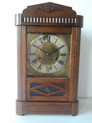 Oak Mantel Clock Upright Pendulum Chime Oak Sealed Back Brass Face (no key)