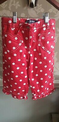 New without tags Mini BODEN cropped Girls red polka dot Heart Trousers Age 8