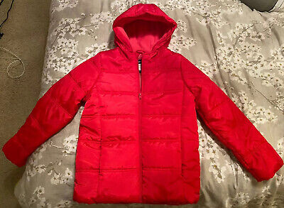 BNWOT Girls 12 Years Red Padded Puffer Hooded Zip Up Coat Jacket