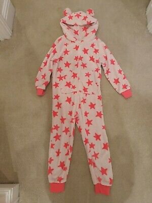 Next Girls Onesie (Not Gerber) All In One Pink Stars Age 7 Years