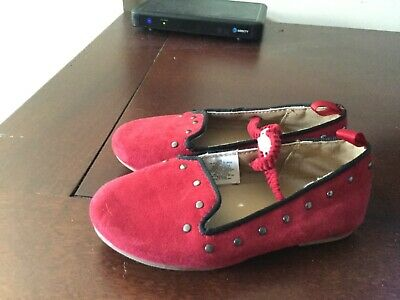 Old Navy red faux suede shoes, girls size 7 medium