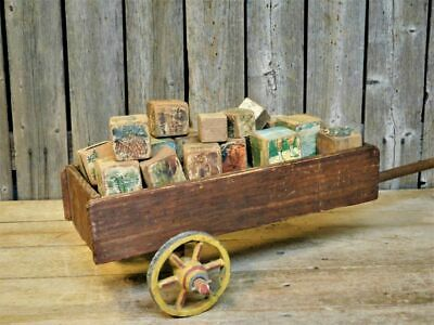 AAFA Antique Primitive Child's Small Toy Wood Cart Filled w/ Early Blocks