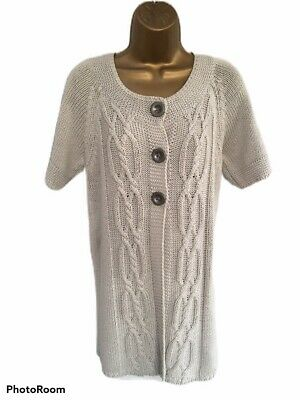 M&S Marks & Spencer Indigo Long Jumper/Cardigan Cable Knit Pearl Grey - 12