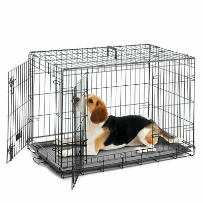 Dog Cage Puppy Crate Metal Pet Bed Basket Kennel Transport Tray Folding Training