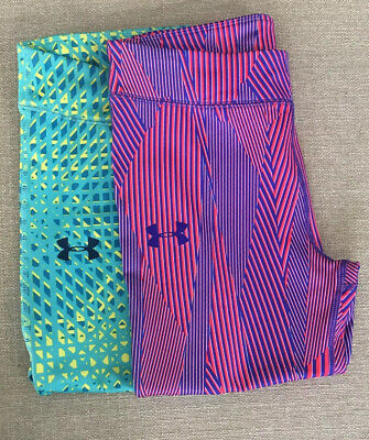 UNDER ARMOUR 2PAIR Of Girls,HEAT GEAR Youth L Capri Athletic Leggings BRAND NEW!