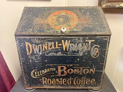 Antique Advertising Dwinell Wright Celebrated Boston Roasted Coffee Bin Tin Box