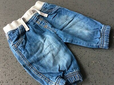 Baby Boys Next Blue Soft Jeans With Elasticated Waist & Cuffs Age Up To 3 Months