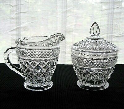 Anchor Hocking Glass Clear Wexford Creamer Pitcher & Covered Sugar Bowl