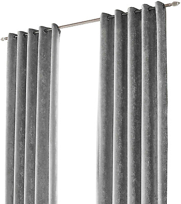 """Sienna Crushed Velvet Eyelet Pair of Fully Lined Curtains - Silver Grey 66"""" x"""