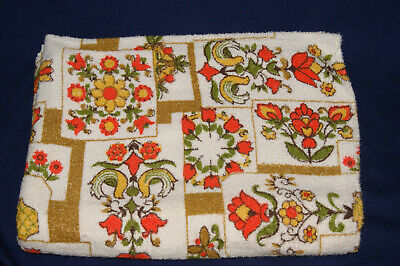"""Beautiful Vintage Terry Cloth Tablecloth  -  Multi Color Floral - 50 1/2"""" x 61"""""""