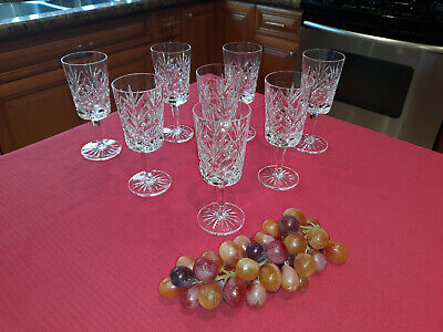 "Set Of Eight (8) Cavan ""Ramor"" Wine Glasses  6 1/8"" Tall ""Signed""  Ireland ""Wow"""