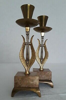 """Vintage Pair of Marble & Brass Lyre Candlestick Holders Israel 7.5"""" Candle"""