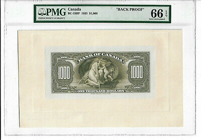 1935 $1000 Bank of Canada Back Proof PMG Graded GEM 66 EPQ