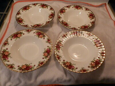 Royal Albert Old Country Rose 4 Rimmed Soup  Bowls excellent shape like new