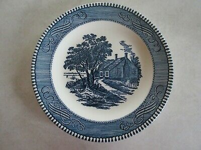 """CURRIER & IVES BLUE By Royal Salad Plate(s) 7 1/4"""" ~Washington's Birthplace"""