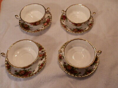 Royal Albert Old Country Rose 2 Handled Cream Soup Bowl Set fo 4 Dated 1962