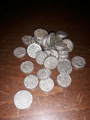 Large Lot Of Antique India Mughal / Princely States Silver Coins