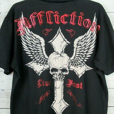 AFFLICTION Mens Graphic Polo Shirt SIZE XL Black Metallic Red Skull Distressed