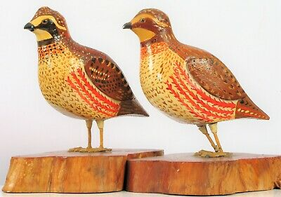 Vintage John Nelson Hand Carved Wooden Quail Bird Carvings Male Female Pair