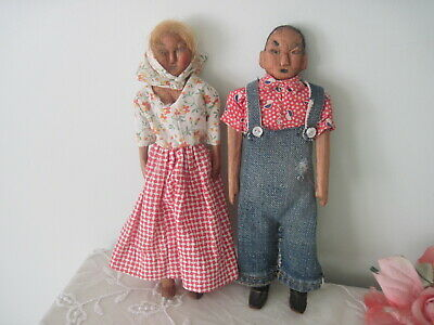 Vintage Doll Pair Folk Art Kentucky Wooden Hand Carved Appalachian Poppet c1930
