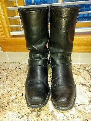 GUC Tall Harley-Davidson Black Leather Harness Boots - US Size 10 D (Mens)