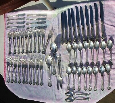 Lot of 59 Pieces Sterling Silver GORHAM Flatware  CHANTILLY With Chest