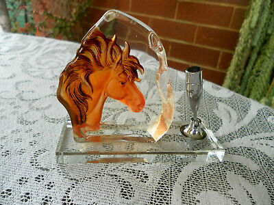 RARE VINTAGE SOLID HEAVY GLASS DESK PEN HOLDER with AMBER HORSE HEAD-BOX AS NEW