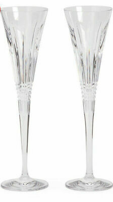 Waterford Pair Lismore Diamond Flutes Cuts Crystal Valentines Mother Father Day
